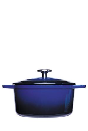 Vue - Element Cast Iron Round Casserole - Blue