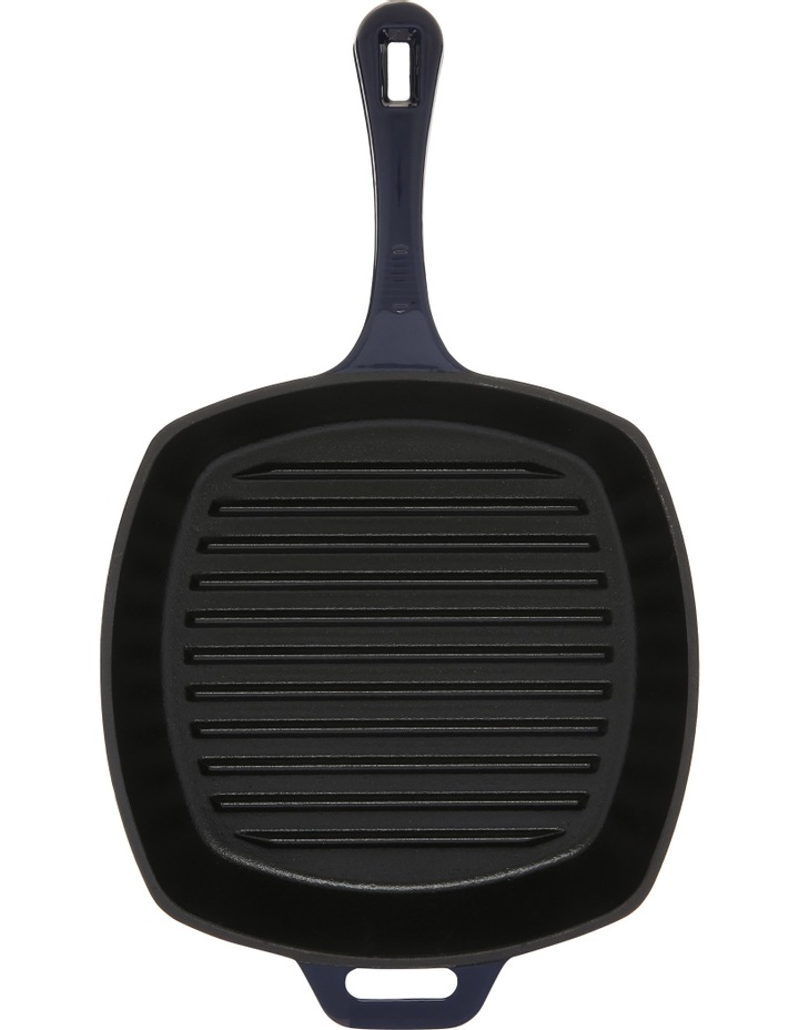 25cm cast iron square grill pan navy image 1