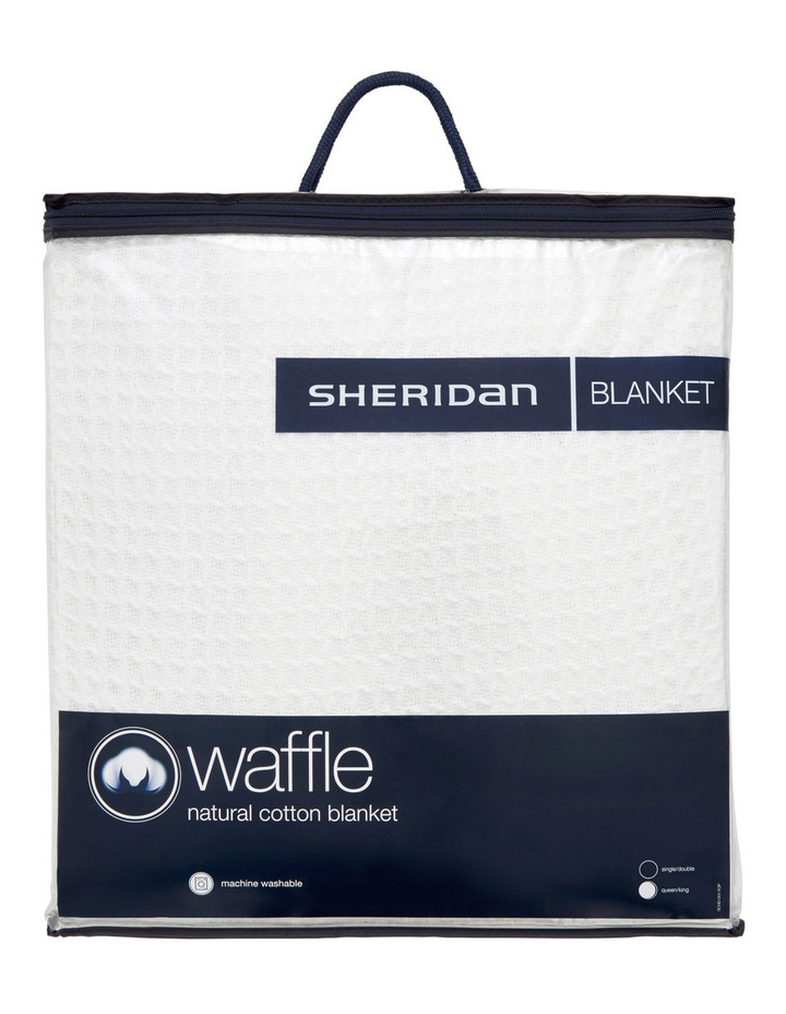 Ultrasoft Cotton Waffle Blanket in White image 1
