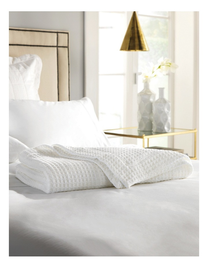 Ultrasoft Cotton Waffle Blanket in White image 2