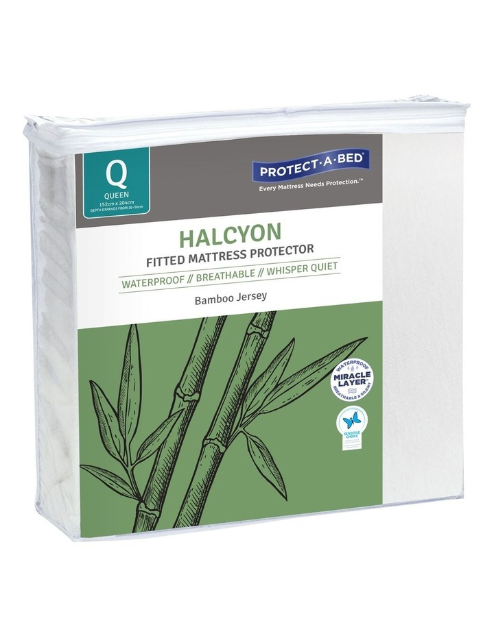 Halycon Bamboo Jersey Waterproof Fitted Mattress Protector image 1
