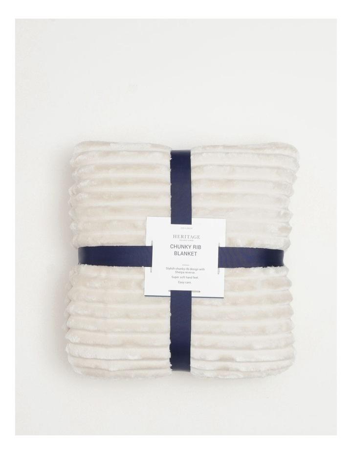 Chunky Rib Mink Blanket in Cream image 1