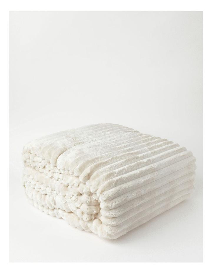 Chunky Rib Mink Blanket in Cream image 3