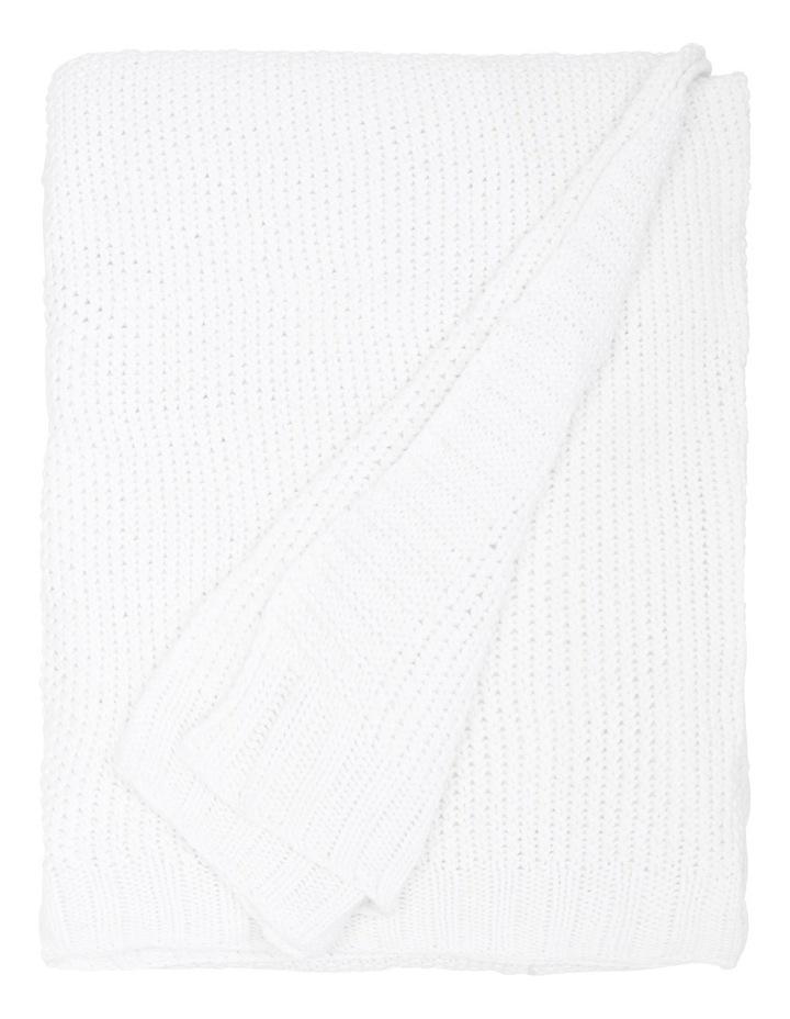 Cotton Knit Blanket White image 2