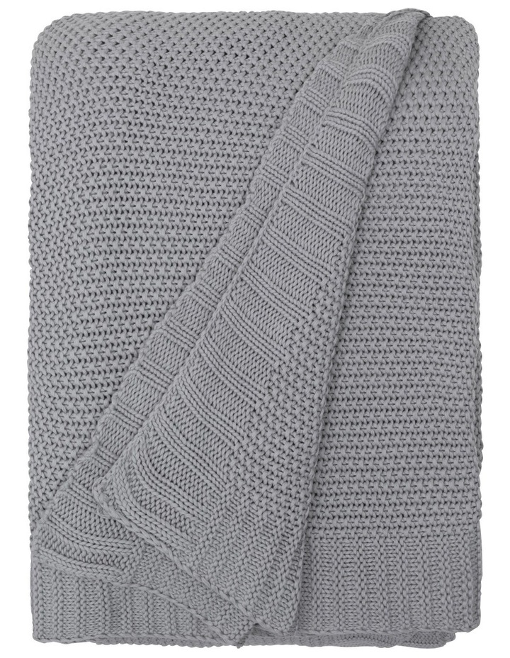 Cotton Knit Blanket Silver image 2