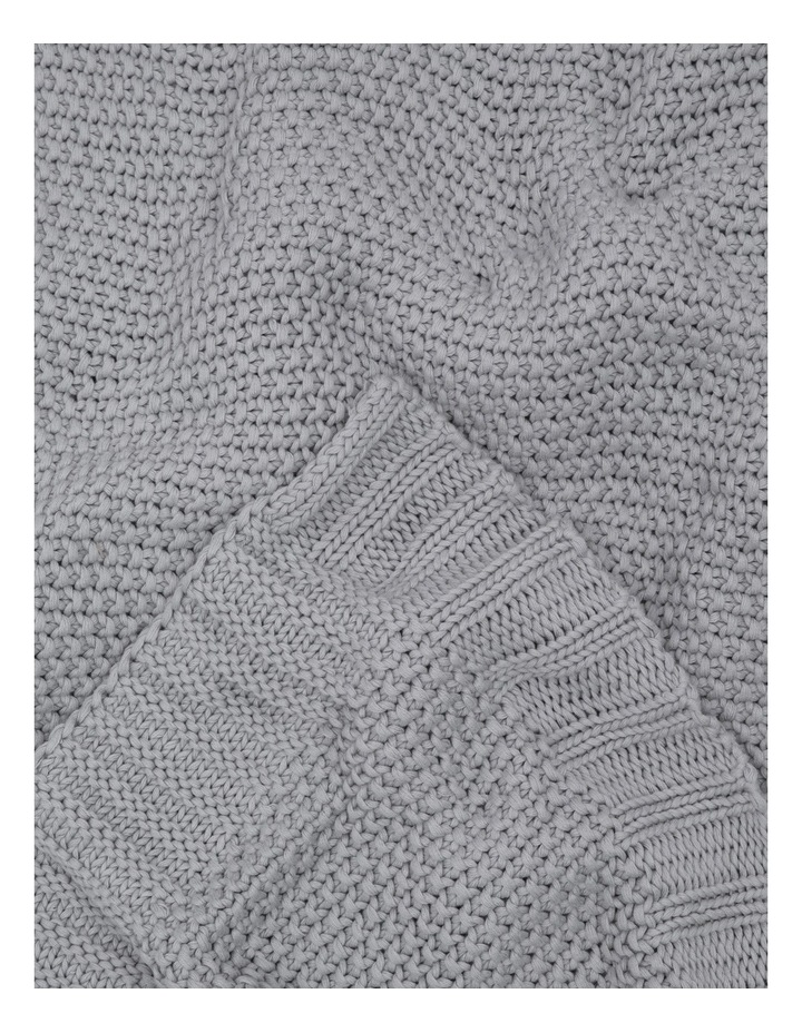 Cotton Knit Blanket Silver image 3