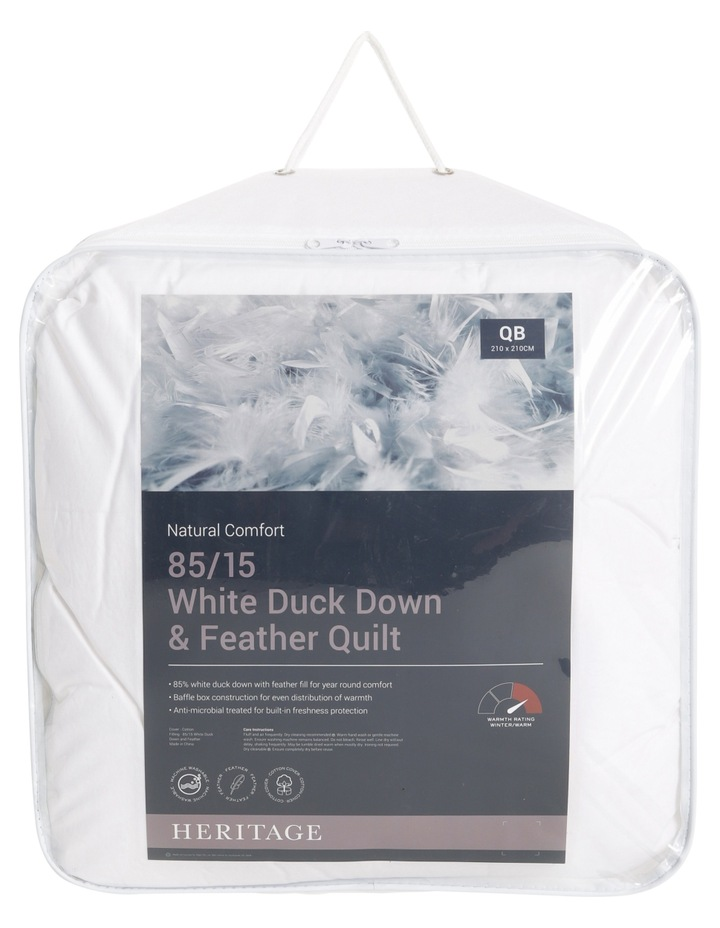 Heritage 85/15 White Duck Down & Feather Quilt image 1