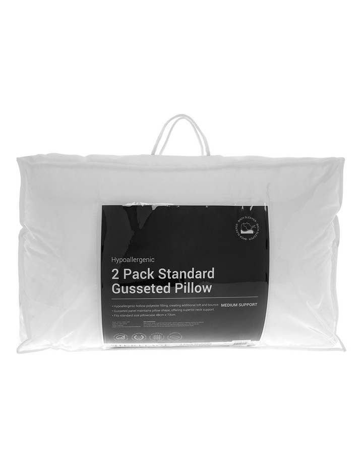 Gusseted Standard Polyester Pillow 2 Pack image 1