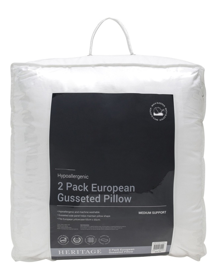 Gusseted European Polyester Pillow 2 Pack image 1