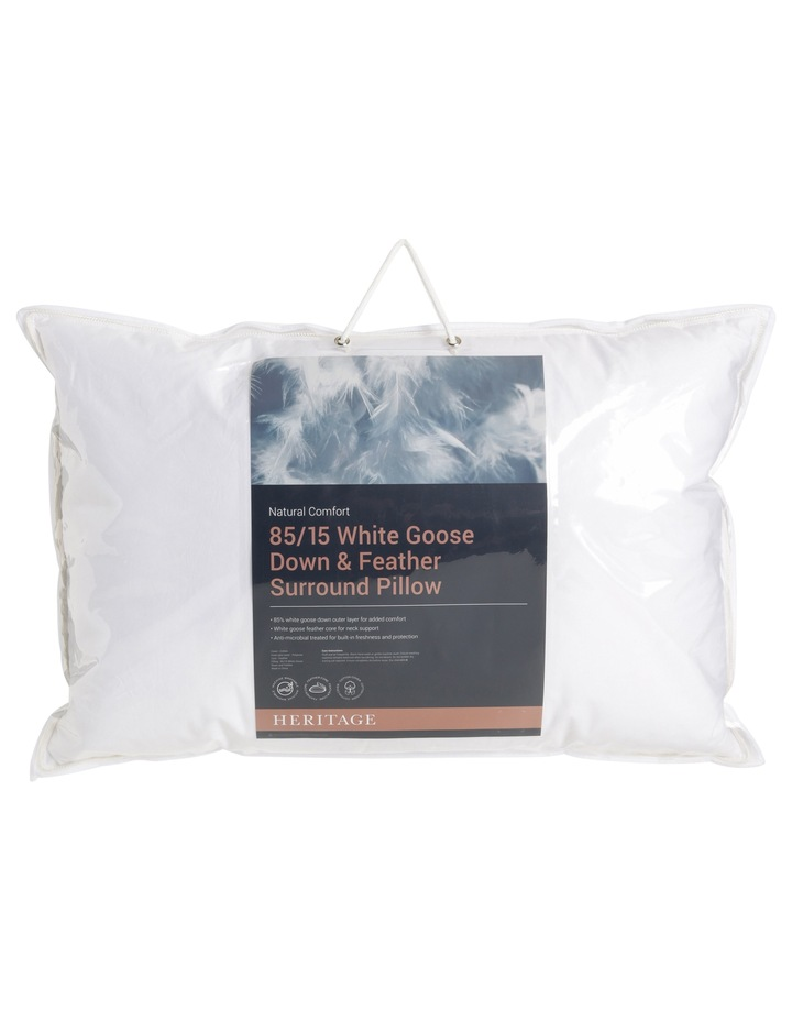 Heritage 85/15 White Goose Down Surround Pillow image 1