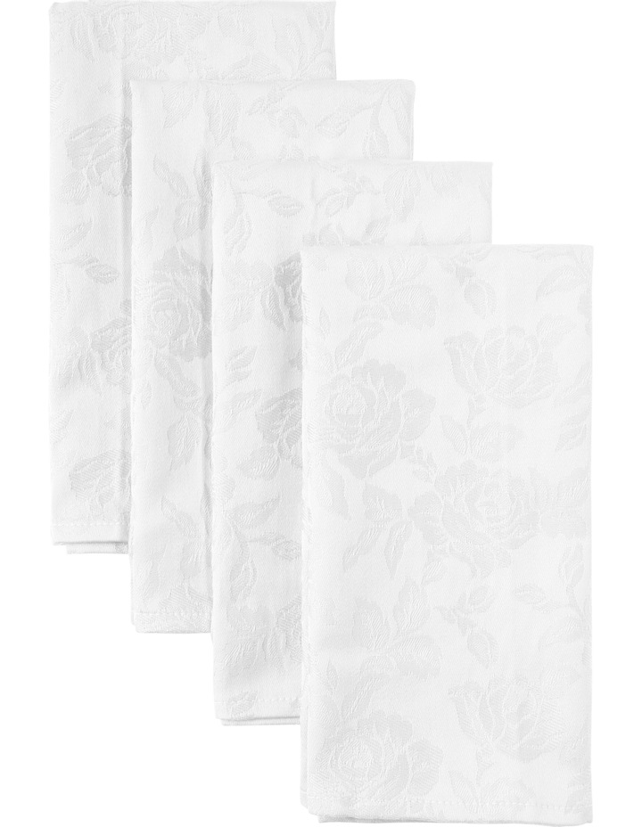 Rose Jacquard Napkin Set of 4 50x50cm White image 1