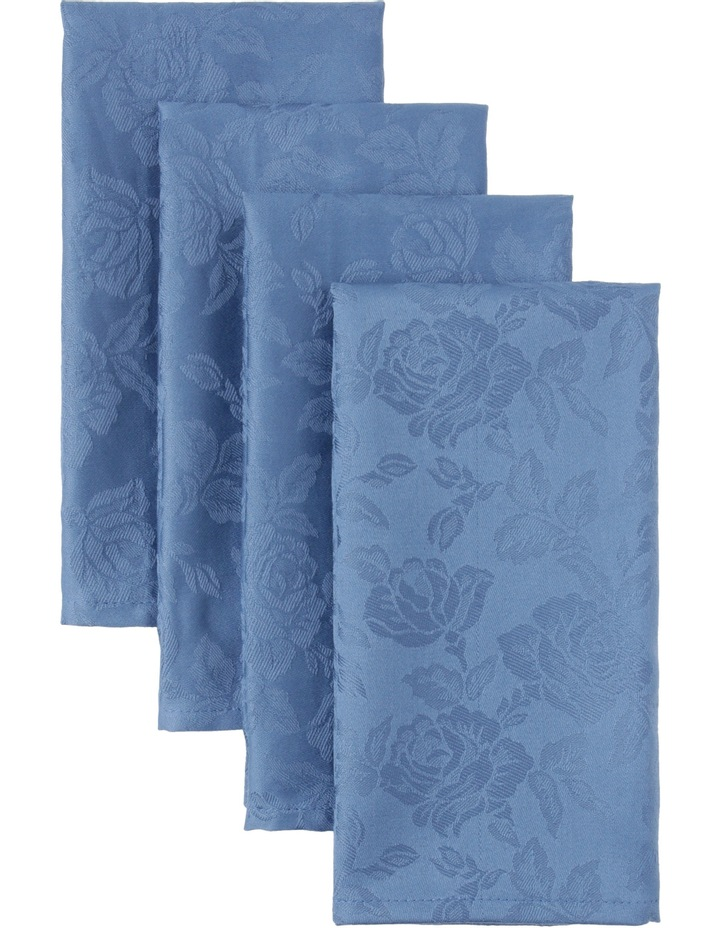 Rose Jacquard Napkin Set Of 4 50x50cm Coronet Blue image 1