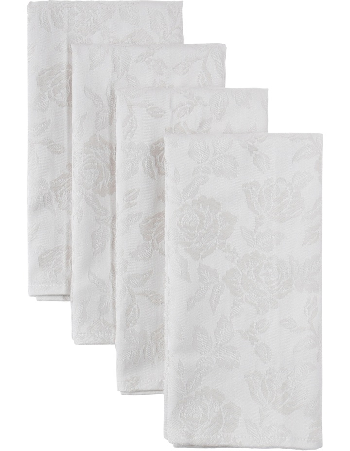 Rose Jacquard Napkin Set Of 4 50x50cm Pumice Stone image 1