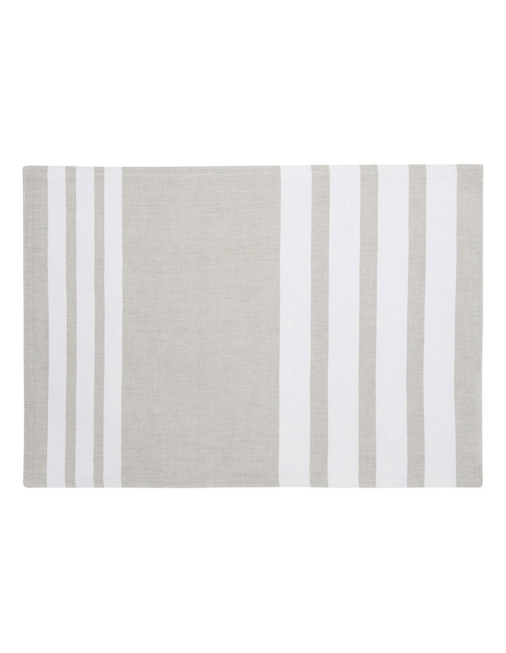 Stripe Cotton Placemat - Taupe & White image 1