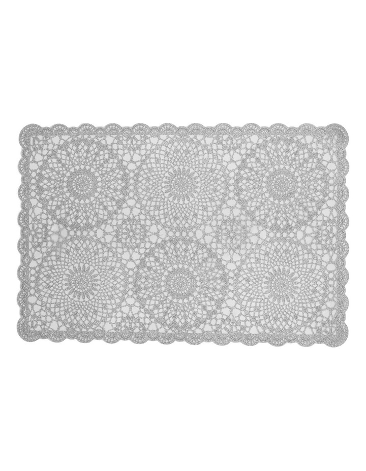 Vinyl lace Silver placemat 30x45cm Set of 4 image 1