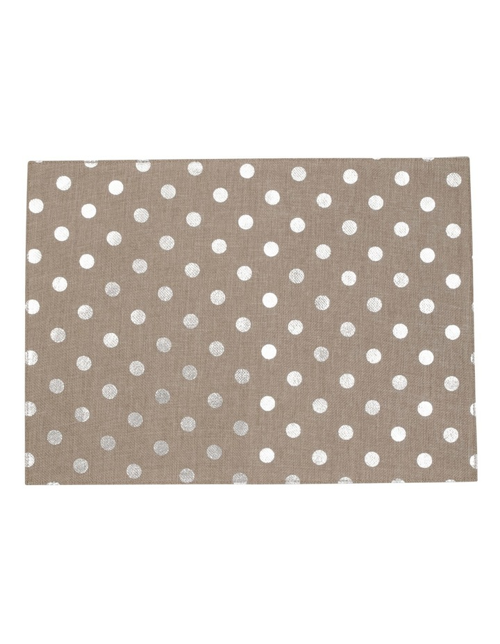 Reversible Polka Dots Foil Printing Silver Placemat Set Of 4 33x45cm image 1
