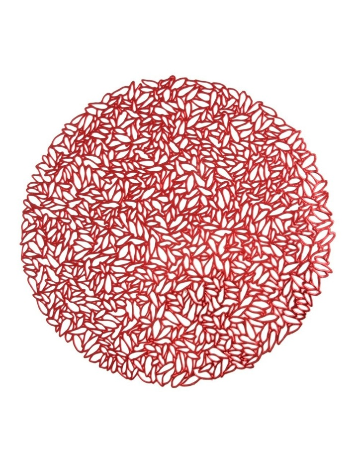 Ava Leaf Round Placemat 38cm Red image 1