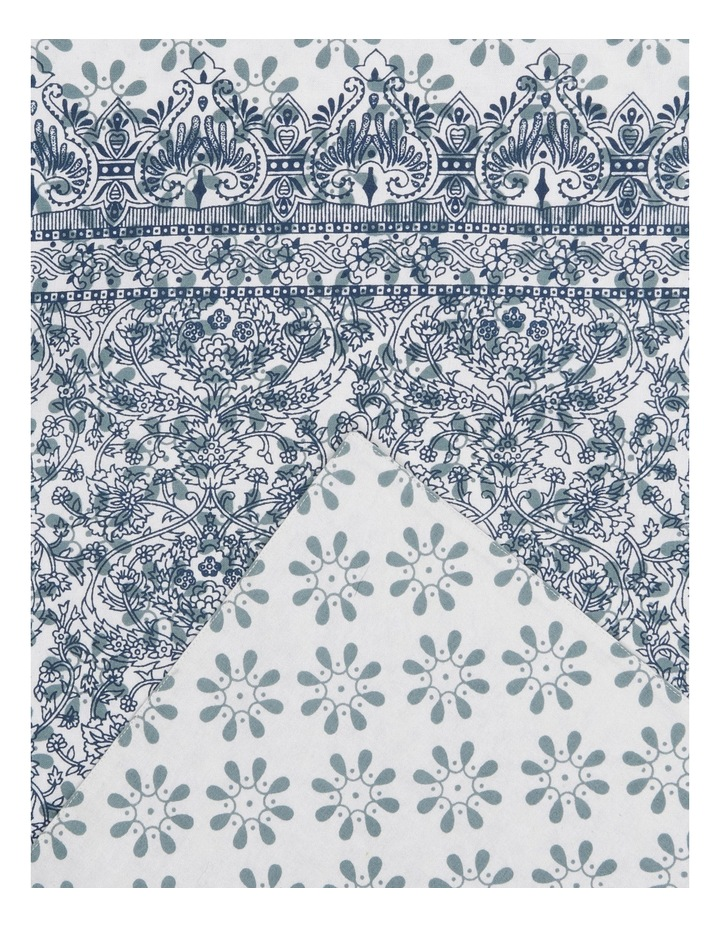 Woodcut Floral Cotton Table Runner 33x180 image 2