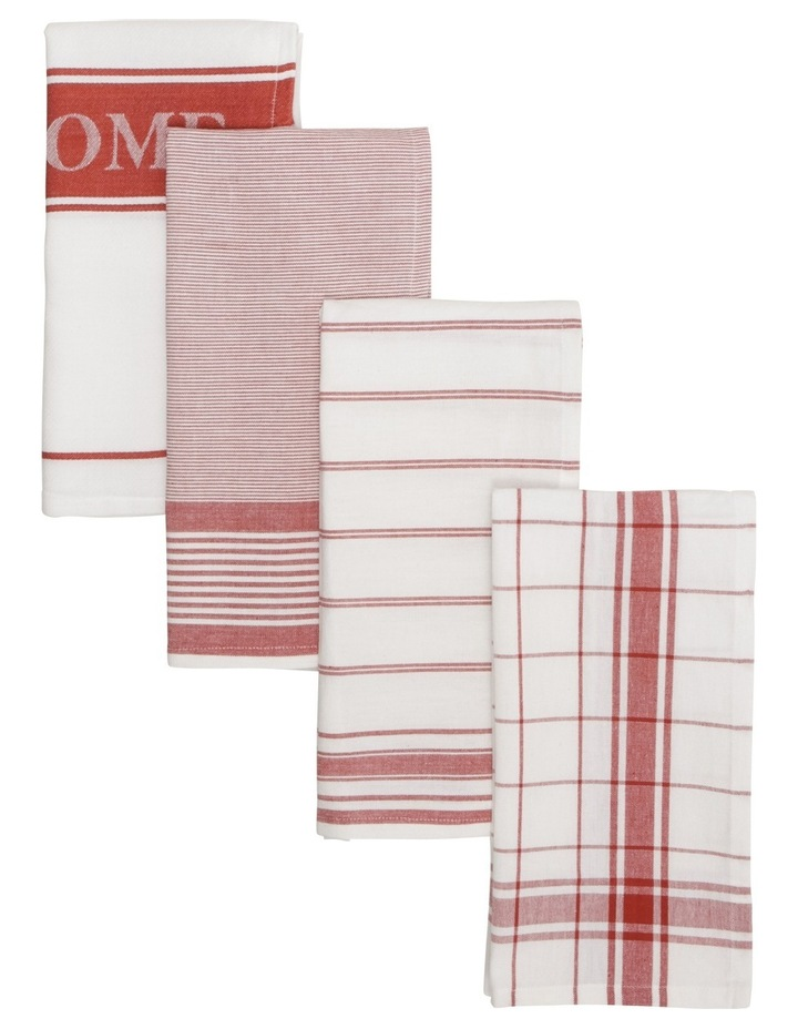 Yarn Dyed Red Jumbo Kitchen Tea Towel 50x70cm Set of 4 image 1
