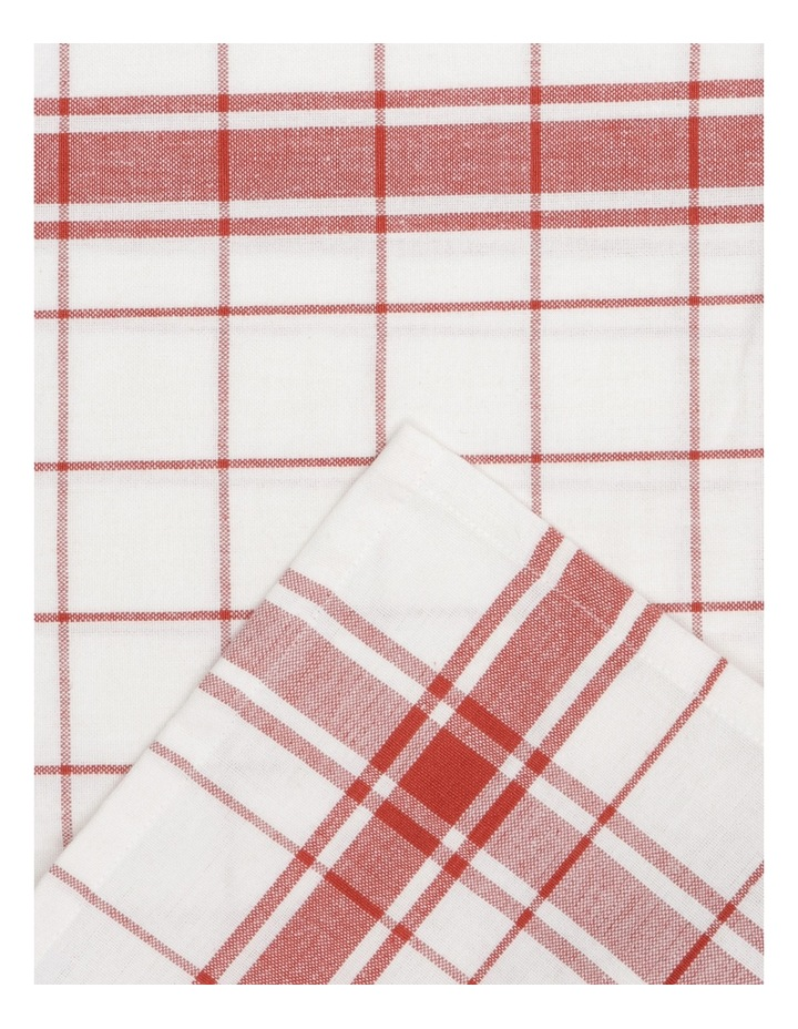 Yarn Dyed Red Jumbo Kitchen Tea Towel 50x70cm Set of 4 image 3