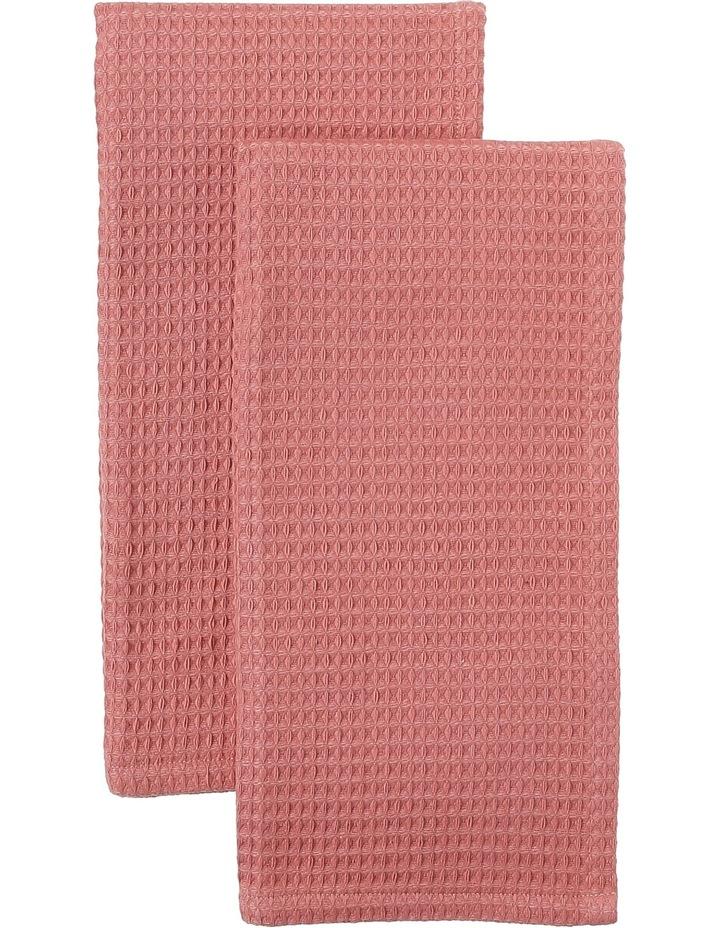 Soho Yarn Dyed Waffle tea towel set of 2 Lobster Bisque image 1