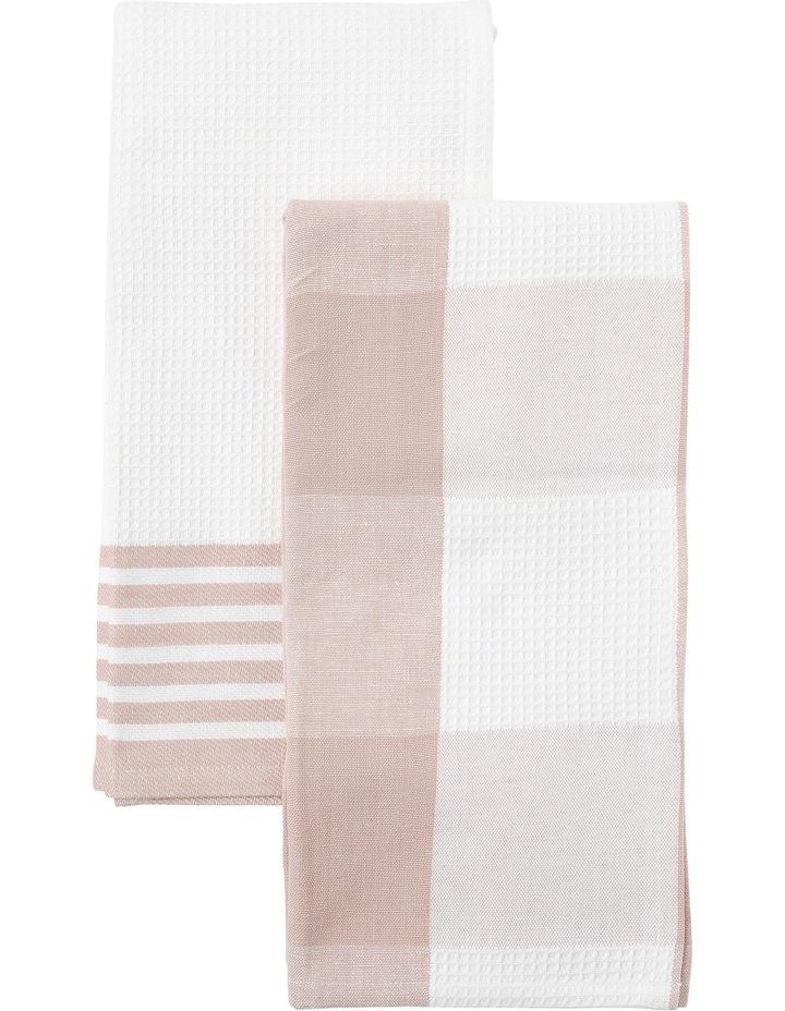 Check and Stripe Tea Towel set of 2 Smoke Rose image 1