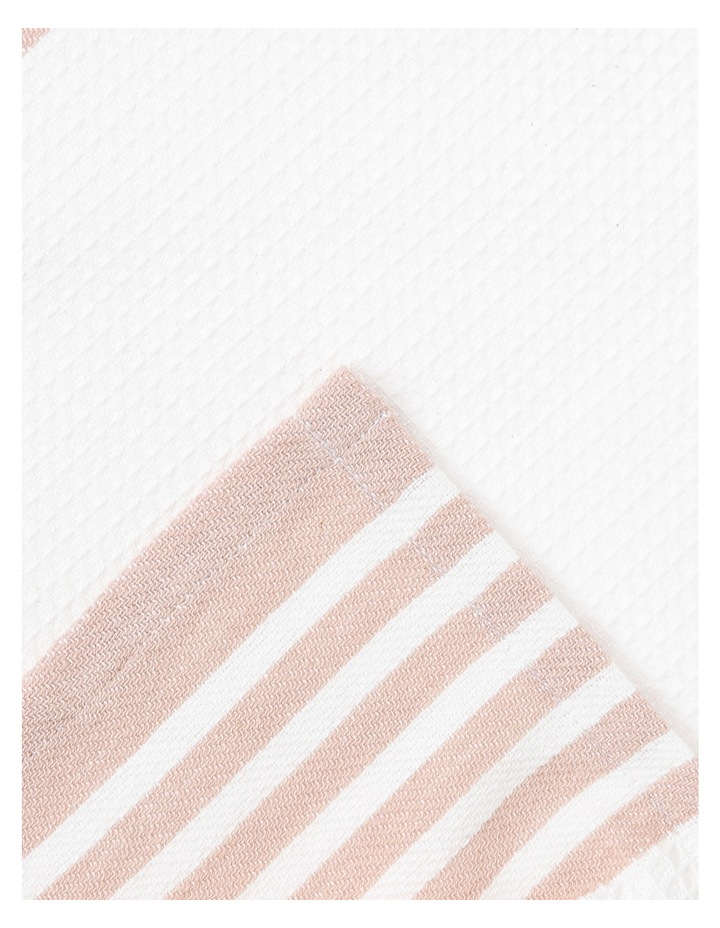 Check and Stripe Tea Towel set of 2 Smoke Rose image 2