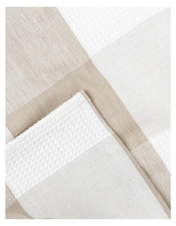 Check And Stripe Tea Towel Set Of 2 Simple Taupe image 2