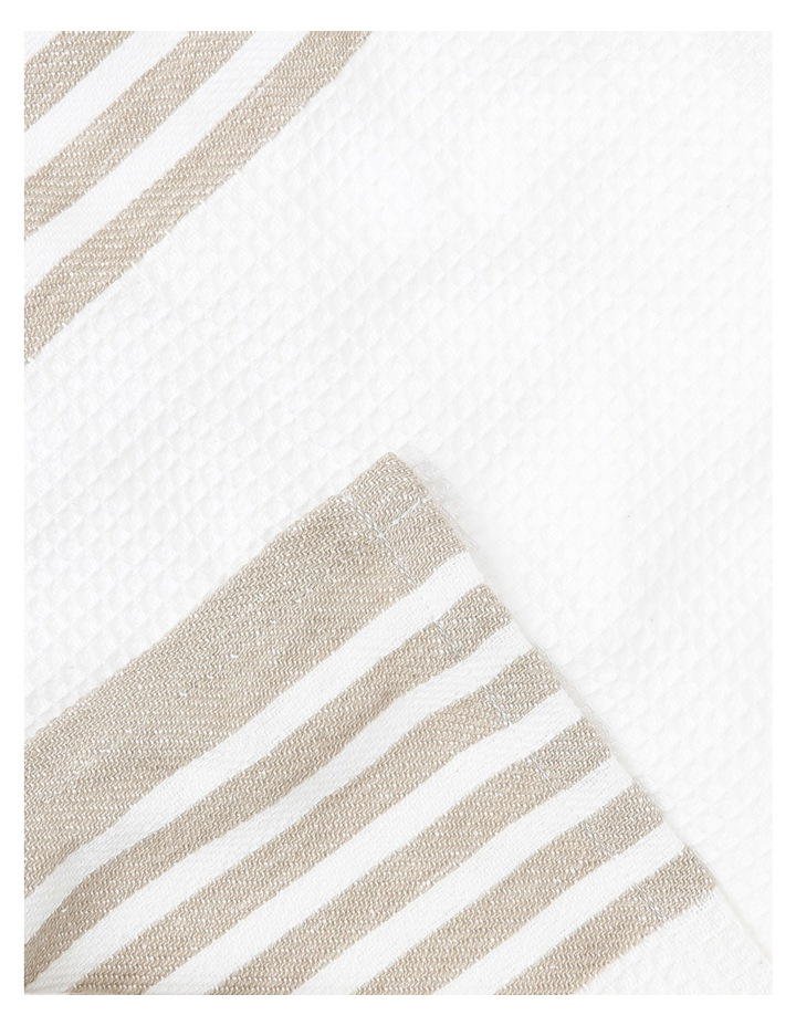 Check And Stripe Tea Towel Set Of 2 Simple Taupe image 3