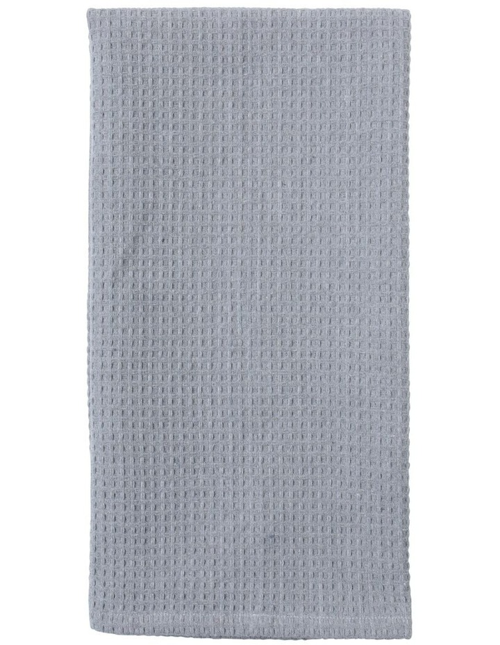 Eco Recycled Cotton Waffle Weave Jumbo Tea Towel 2pk Light Grey image 1