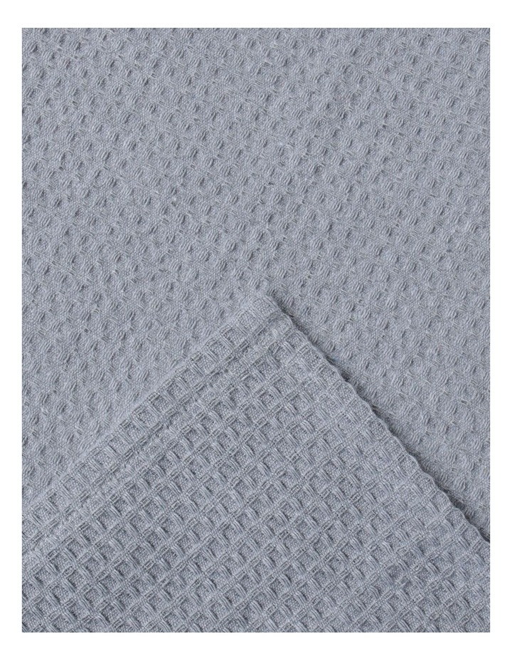 Eco Recycled Cotton Waffle Weave Jumbo Tea Towel 2pk Light Grey image 2