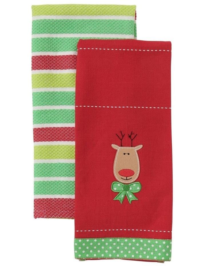 Reindeer Applique Tea Towel 2pk image 1