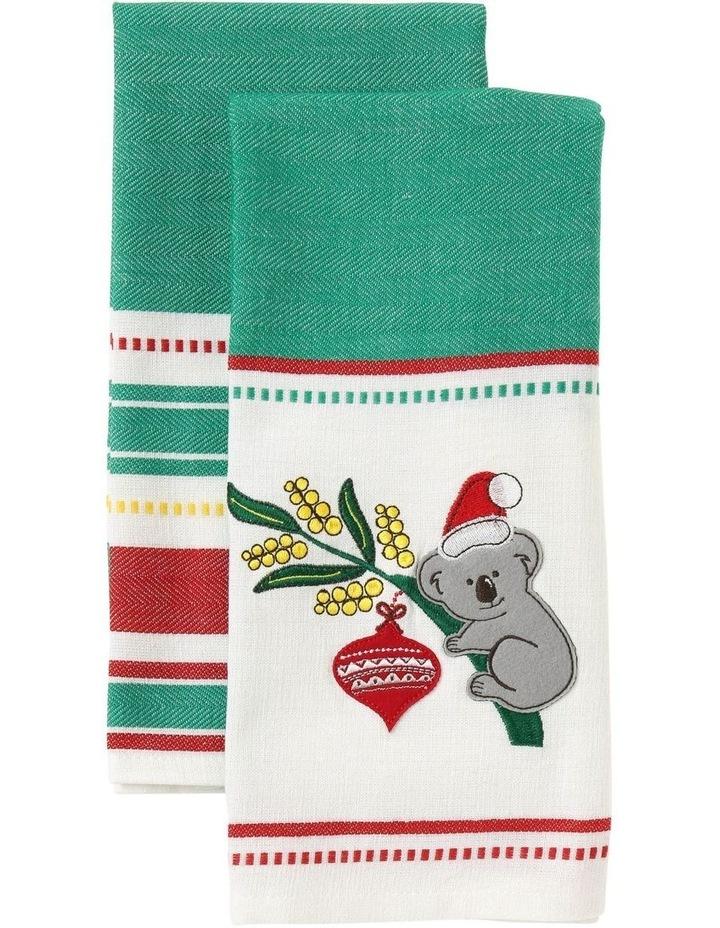 Koala Christmas Applique Tea Towel 2pk image 1