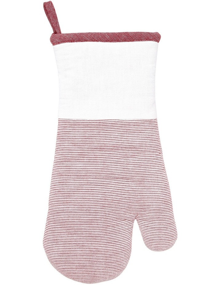 Red Stripe Yarn Dye Oven Mitt Glove image 1