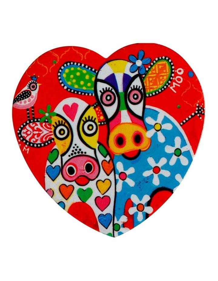Love Hearts Ceramic Heart Coaster 10cm Hapy Moo Day image 1