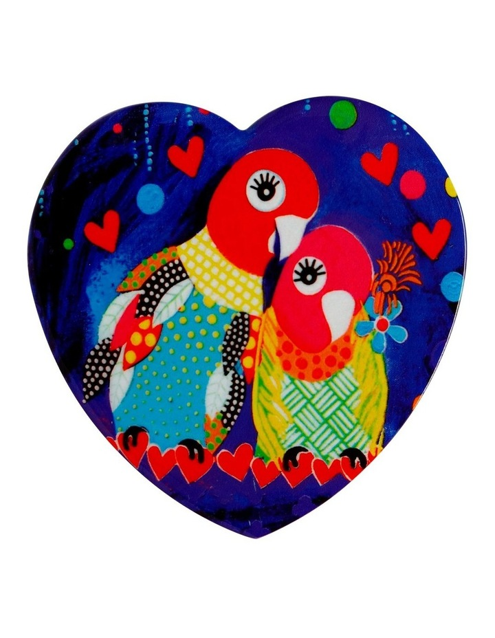 Love Hearts Ceramic Heart Coaster 10cm Love Birds image 1
