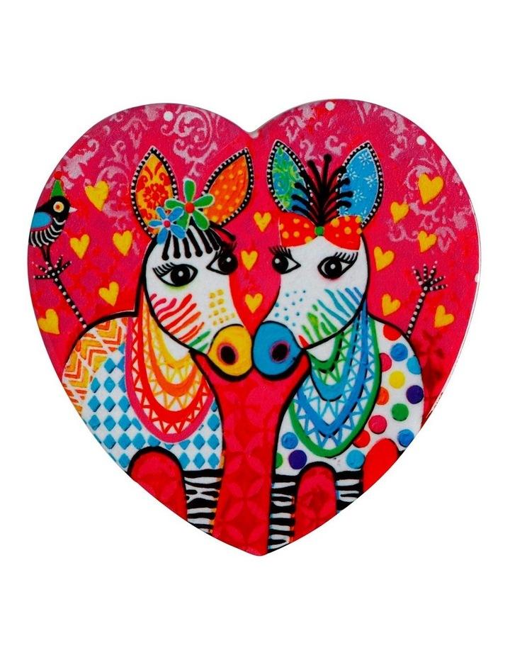 Love Hearts Ceramic Heart Coaster 10cm Zig Zag Zeb image 1