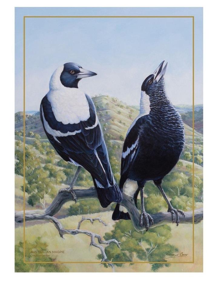 Birds of Australia KC 10yr Anniversary Tea Towel 50x70cm Magpie image 1