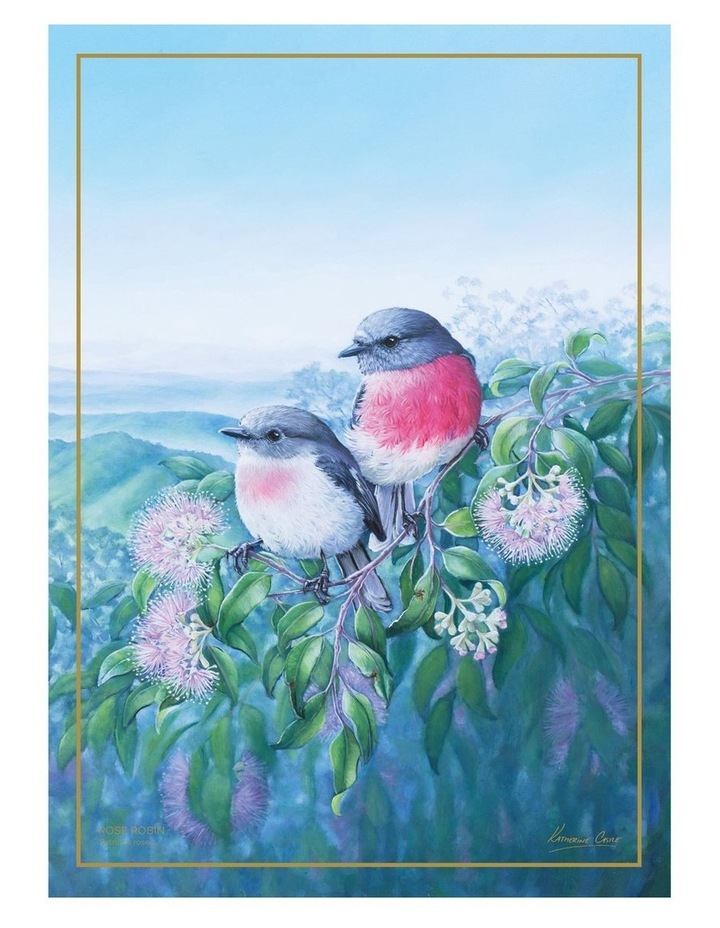 Birds of Australia KC 10yr Anniversary Tea Towel 50x70cm Rose Robin image 1