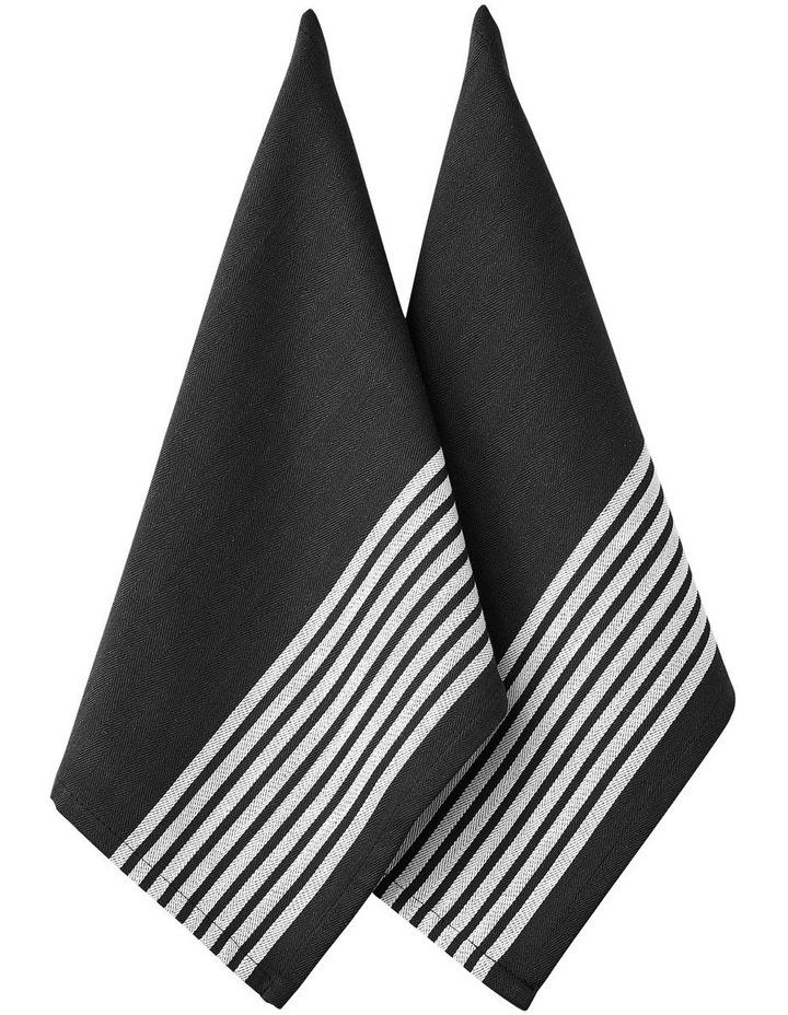 Butcher Stripe Series II Black 2pk Kitchen Towel image 1