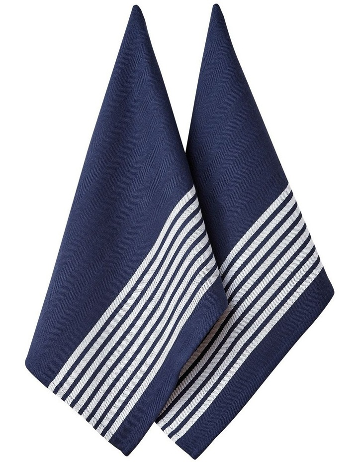 Butcher Stripe Series II Navy 2 Pack Kitchen Towel image 1