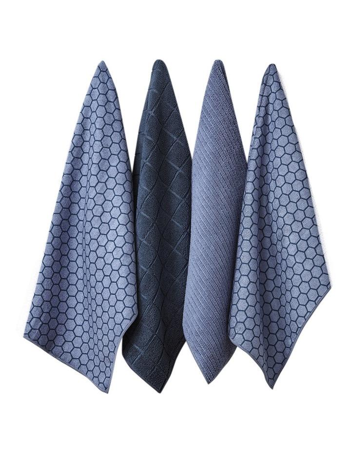 Honeycomb Dusky Blue Microfibre 4pk Kitchen Towel image 1