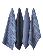 Ladelle - Honeycomb Dusky Blue Microfibre 4pk Kitchen Towel