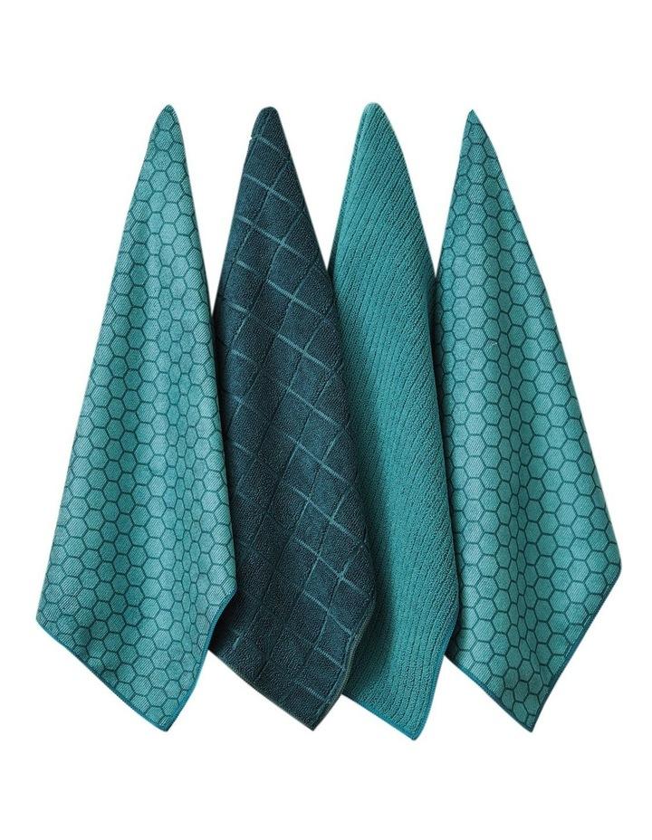Honeycomb Teal Microfibre 4pk Kitchen Towel image 1