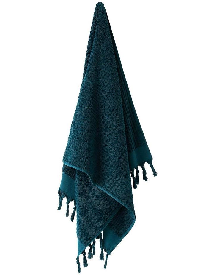 Paros Rib Bath Towel Range In Indian Teal image 1