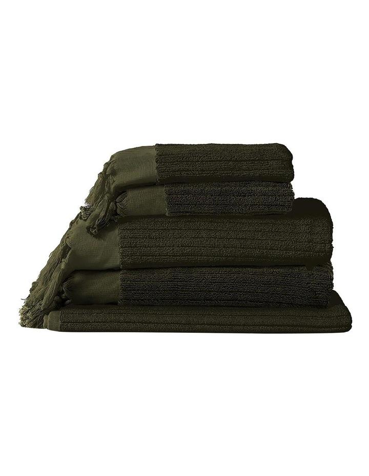 Paros Rib Bath Towel Set In Olive Night image 1