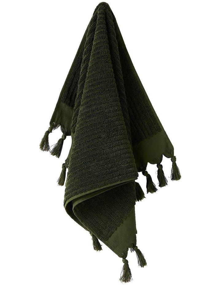 Paros Rib Bath Towel Set In Olive Night image 2