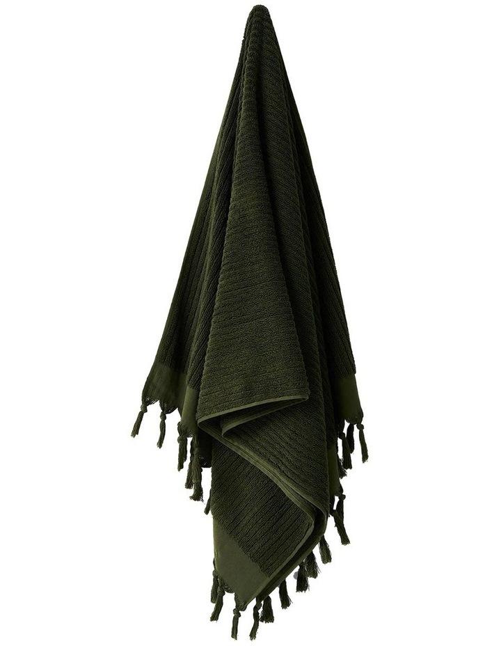 Paros Rib Bath Towel Set In Olive Night image 4