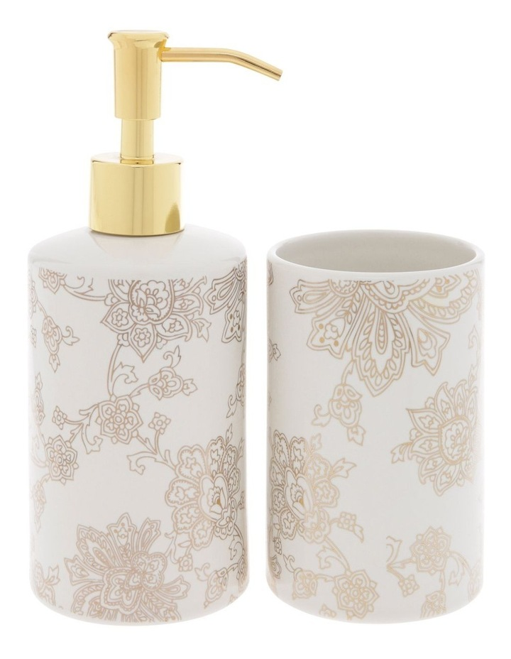 Aris Gold Foil Floral Print Bathroom Range in White image 1