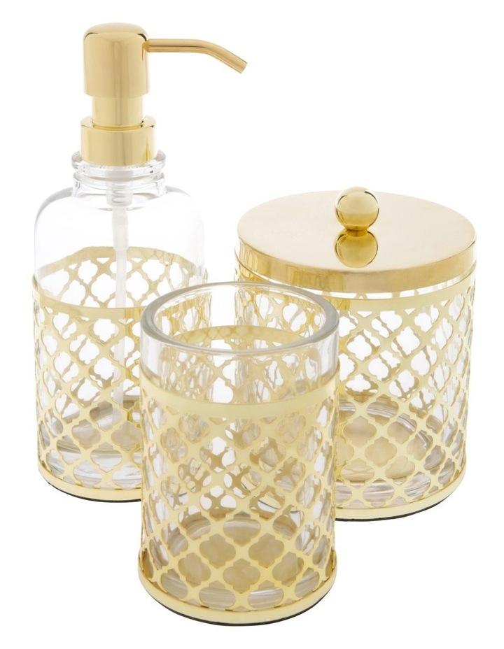 Odila Glass Bathroom Range with Weave Overlay in Gold image 1